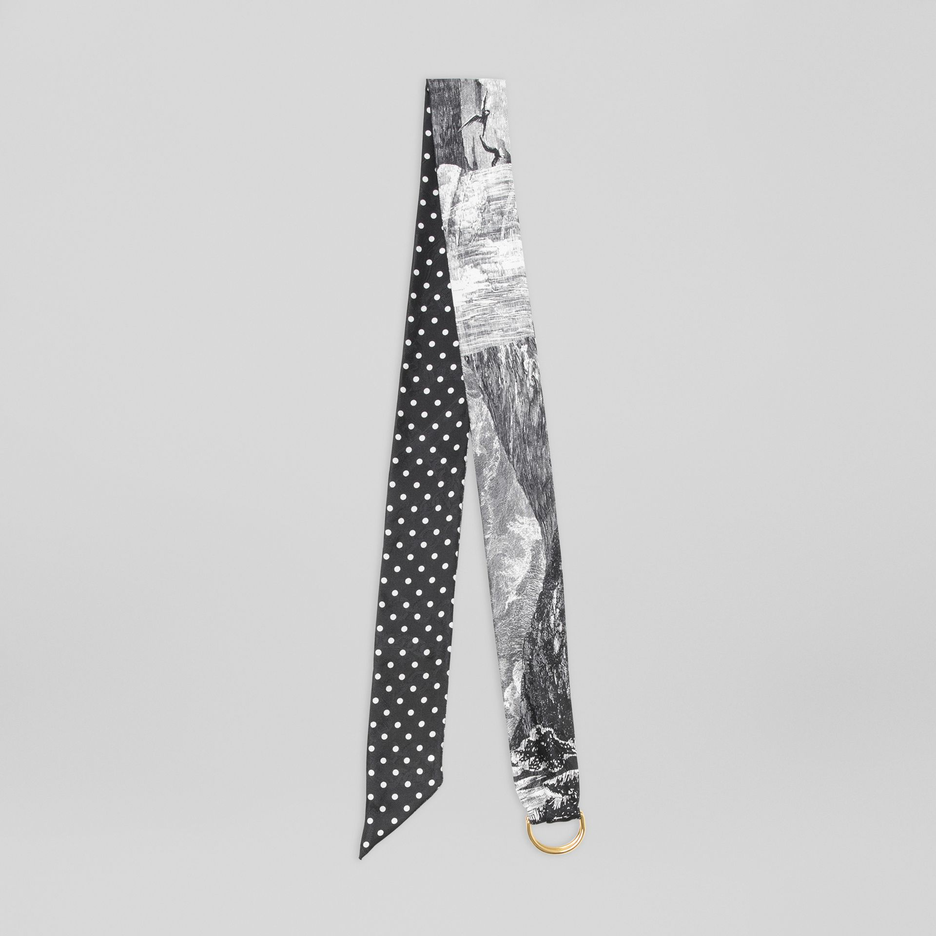 D-ring Detail Dreamscape Dot Silk Jacquard Skinny Scarf in Black - Women | Burberry - gallery image 0