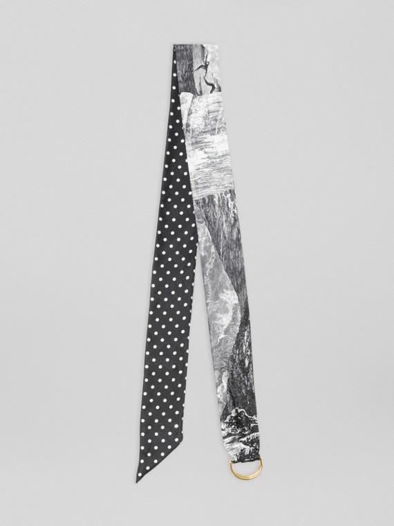 Schmaler Schal aus Seidenjacquard mit Aufdruck und D-Ring (Schwarz)