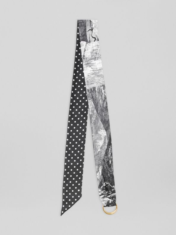 D-ring Detail Dreamscape Dot Silk Jacquard Skinny Scarf in Black