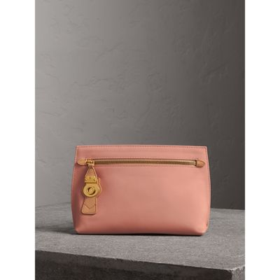 Two Tone Trench Leather Wristlet Pouch by Burberry