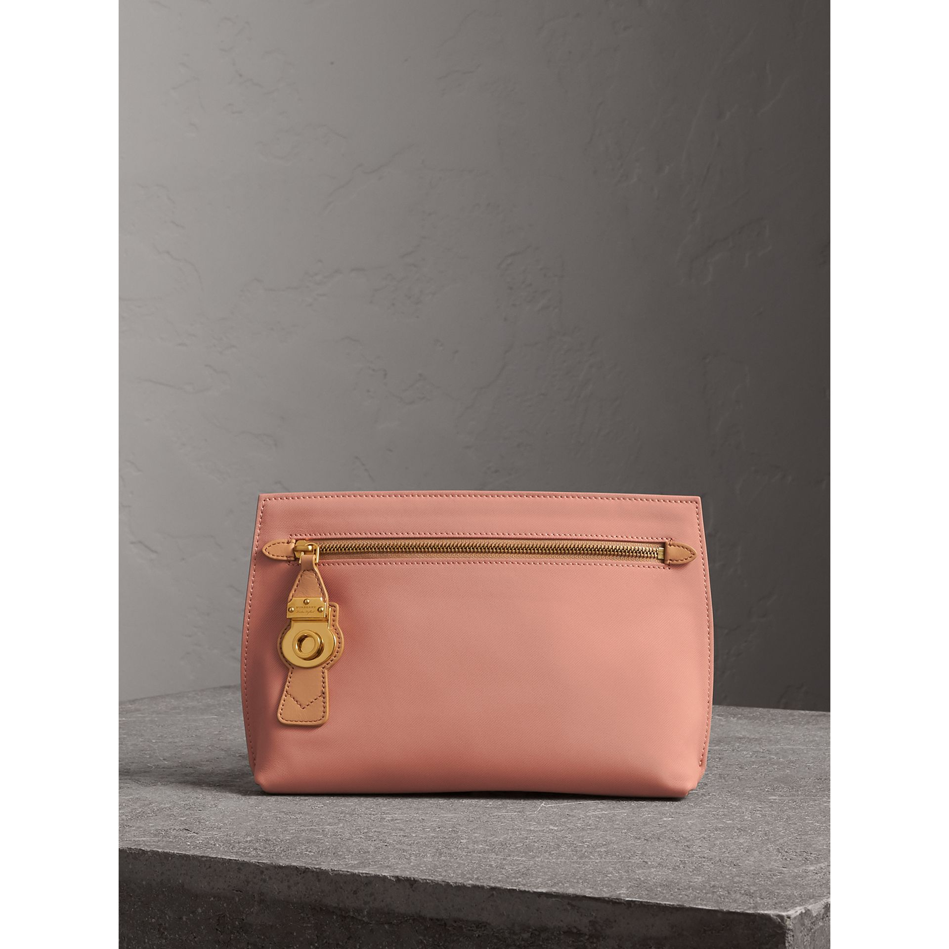 Two-tone Trench Leather Wristlet Pouch in Ash Rose/pale Clementine - Women | Burberry United Kingdom - gallery image 0