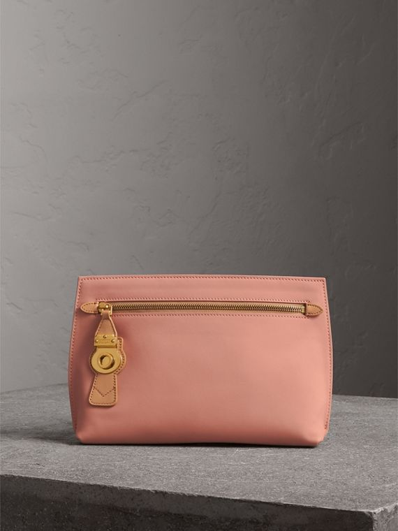 Two-tone Trench Leather Wristlet Pouch in Ash Rose/pale Clementine - Women | Burberry