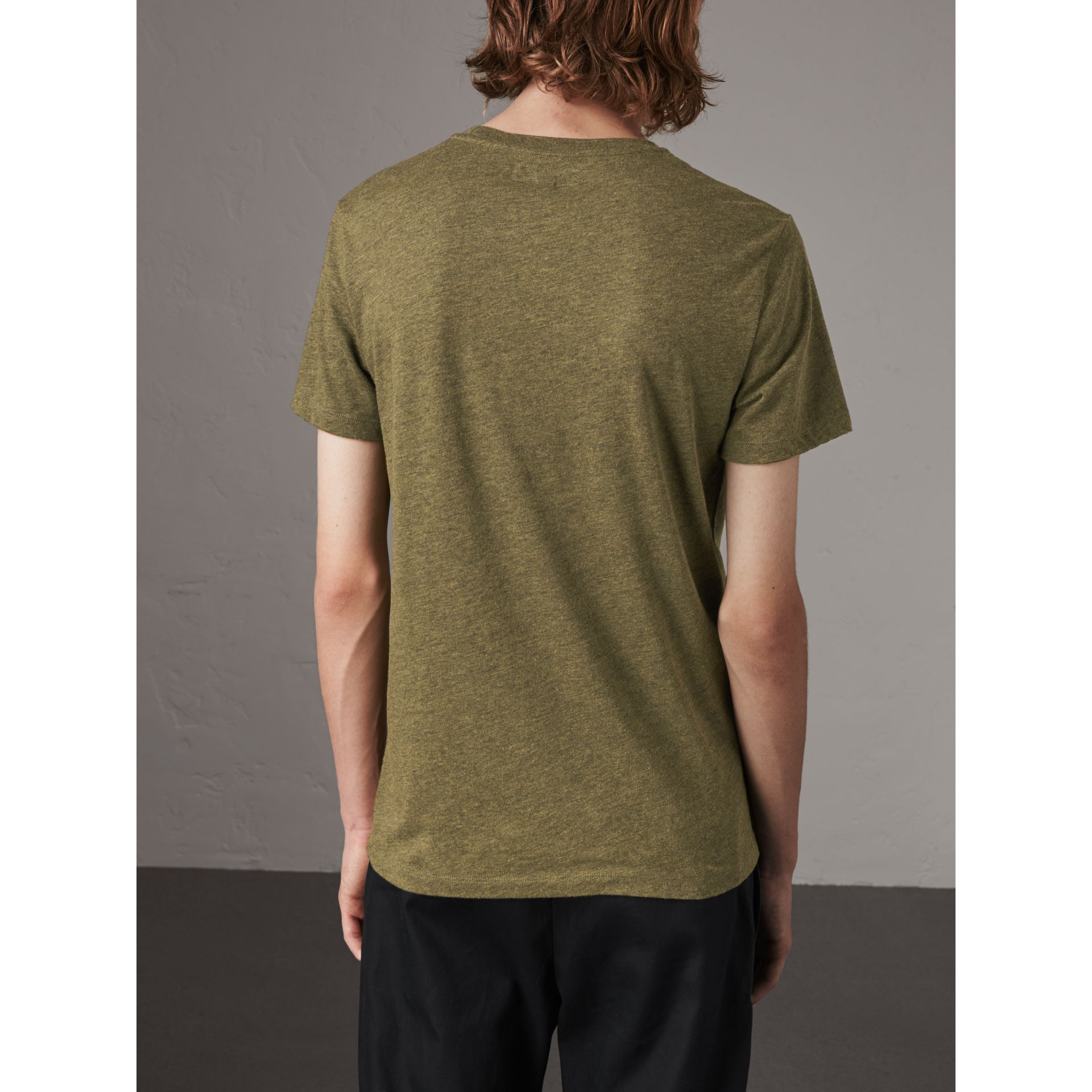 Devoré Cotton Jersey T-shirt in Olive Melange - Men | Burberry - gallery image 3