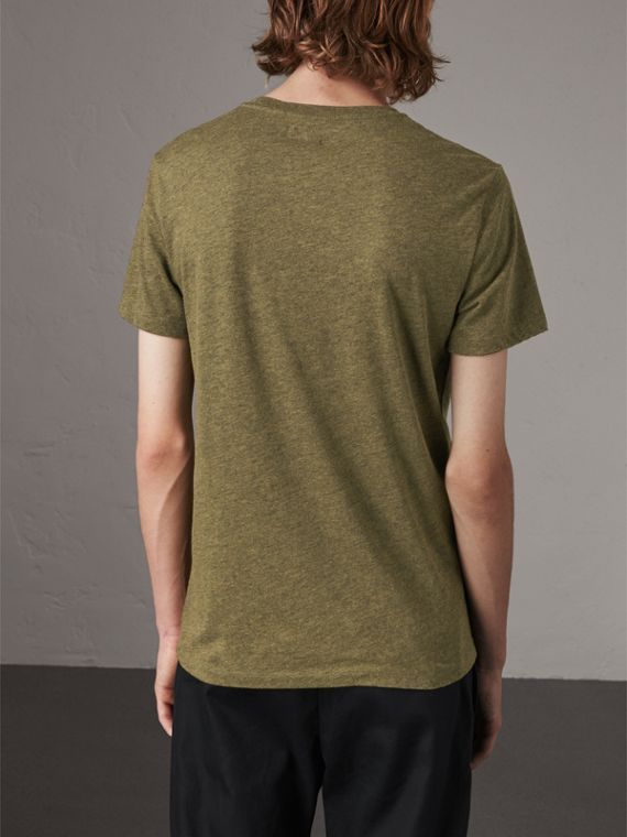 Devoré Cotton Jersey T-shirt in Olive Melange - Men | Burberry - cell image 2