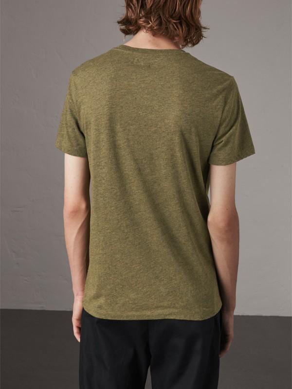 Devoré Cotton Jersey T-shirt in Olive Melange - Men | Burberry - cell image 2