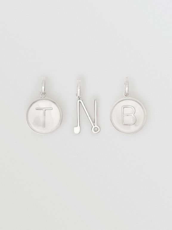 Marbled Resin 'T' Alphabet Charm in Palladio/nacre - Women | Burberry - cell image 1