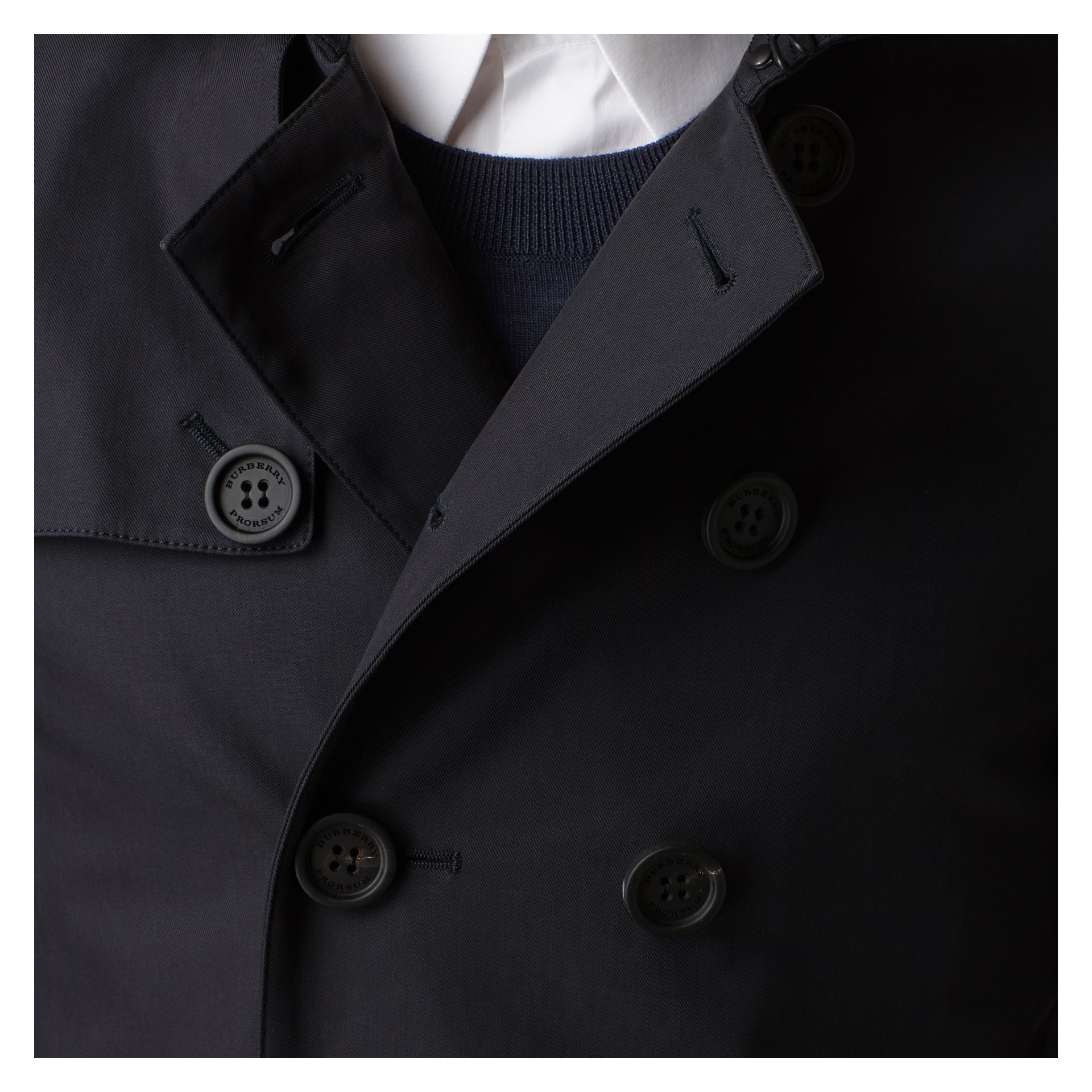 Ink Short Cotton Gabardine Trench Coat - gallery image 2