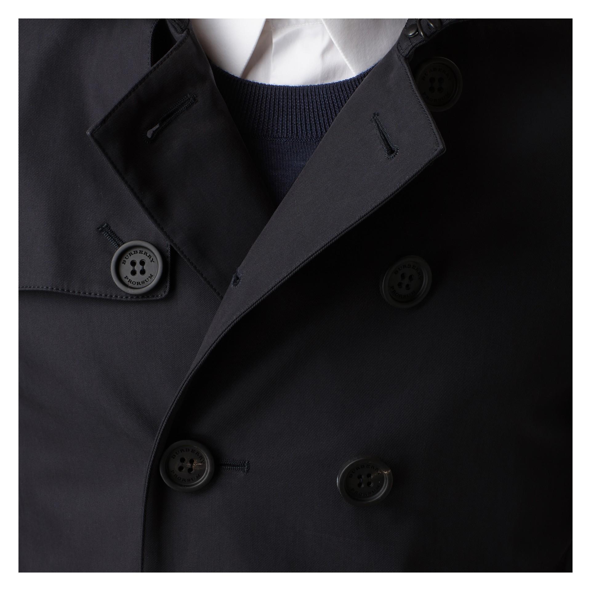 Inchiostro Trench coat corto in gabardine di cotone - immagine della galleria 2