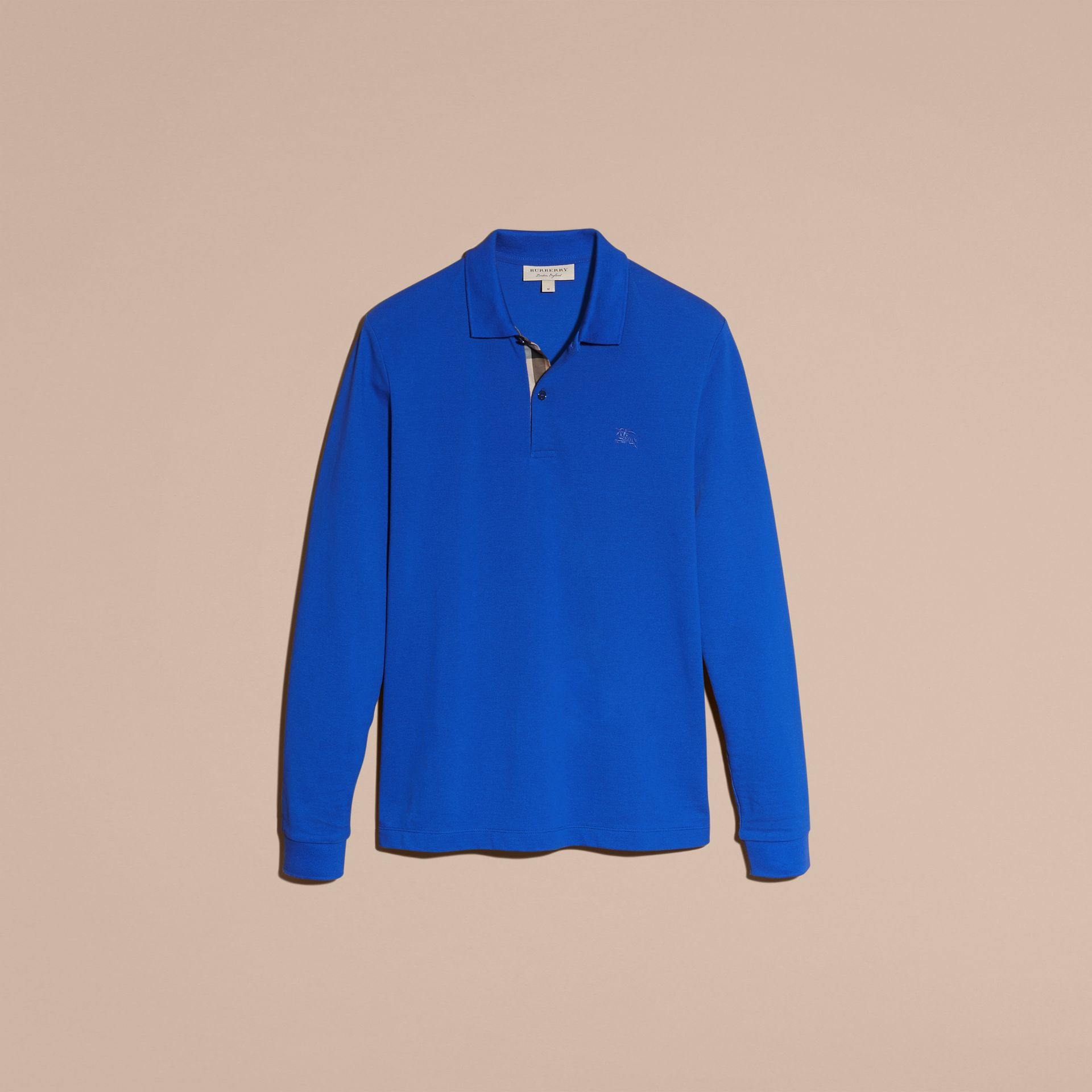 Check Placket Long Sleeve Polo Shirt Brilliant Blue - gallery image 4