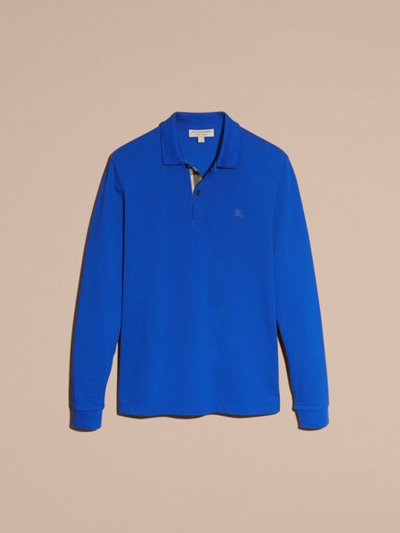Check Placket Long Sleeve Polo Shirt Brilliant Blue - cell image 3