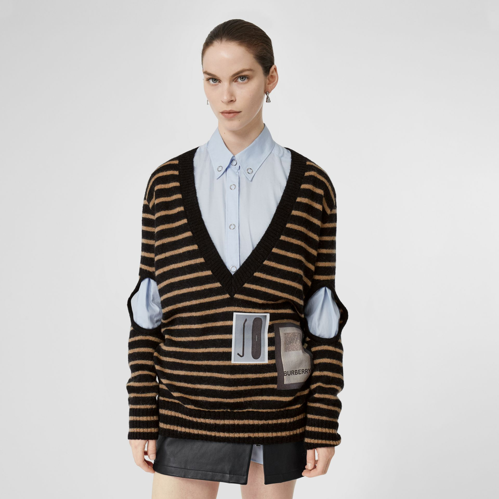 Montage Print Striped Mohair Wool Blend Sweater in Black/honey - Women | Burberry Australia - gallery image 0