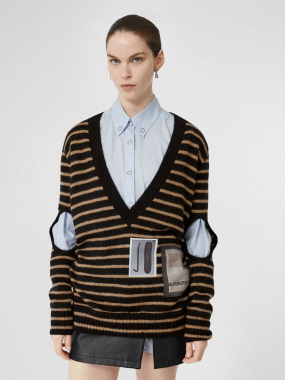 Montage Print Striped Mohair Wool Blend Sweater in Black/honey