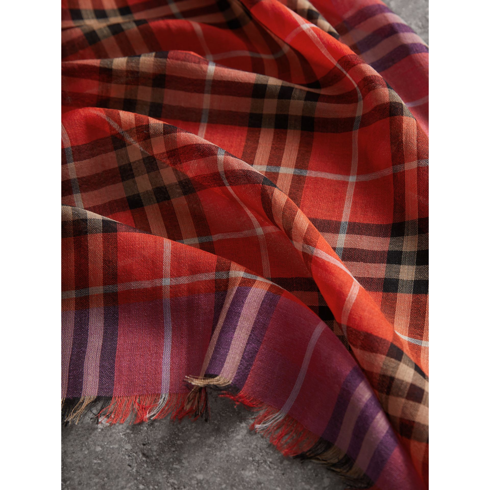 Check Wool Silk Scarf in Bright Orange Red | Burberry Singapore - gallery image 1