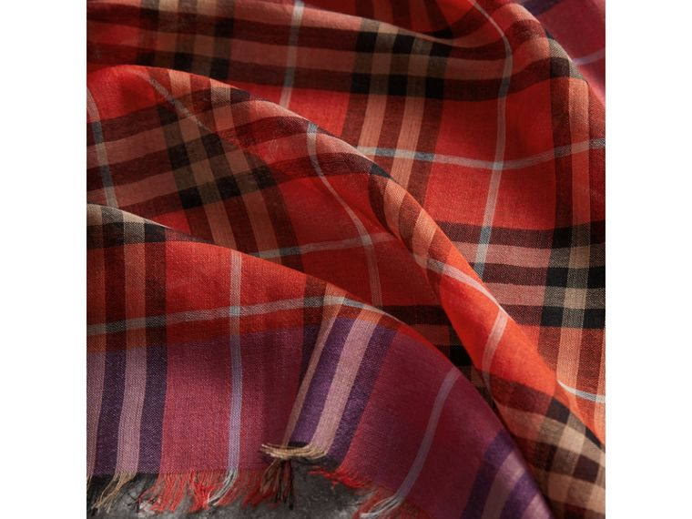 Check Wool Silk Scarf in Bright Orange Red | Burberry Singapore - cell image 1