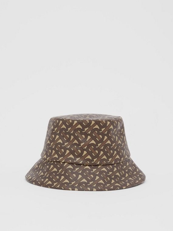 Monogram Print Bucket Hat in Bridle Brown