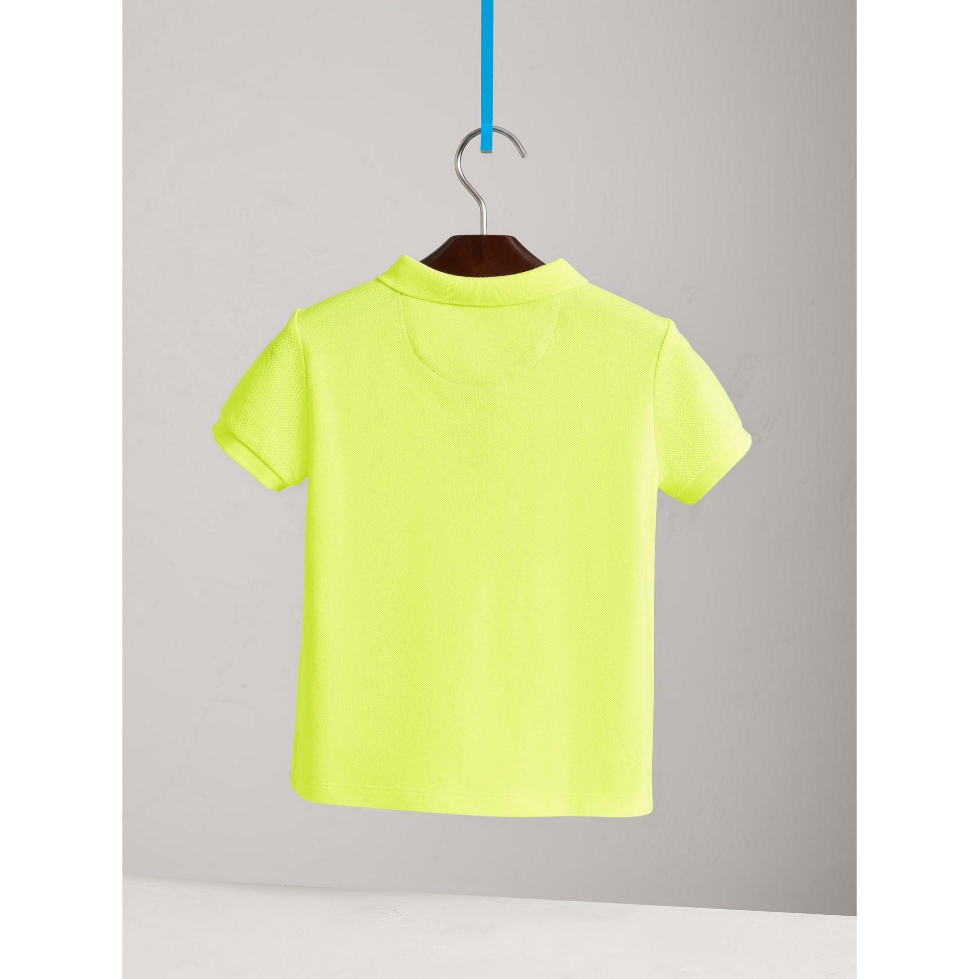 Check Placket Polo Shirt in Neon Yellow | Burberry - gallery image 3