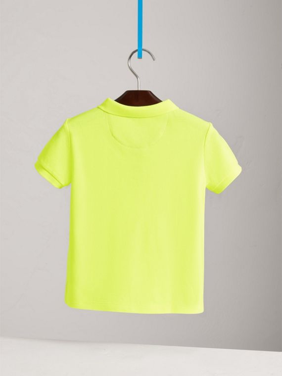 Check Placket Polo Shirt in Neon Yellow - Boy | Burberry - cell image 3