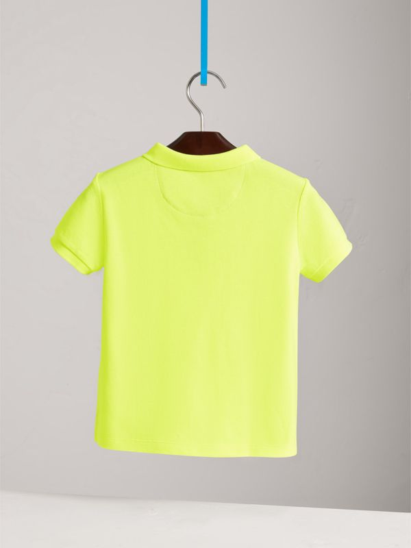 Check Placket Polo Shirt in Neon Yellow - Children | Burberry - cell image 3