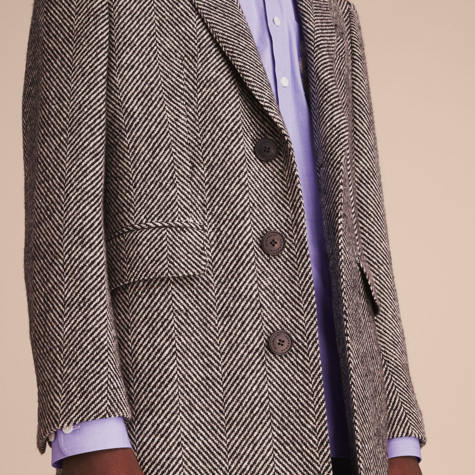 Donegal Herringbone Wool Topcoat in Black - Men | Burberry - gallery image 5