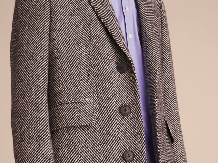 Donegal Herringbone Wool Topcoat in Black - Men | Burberry - cell image 4