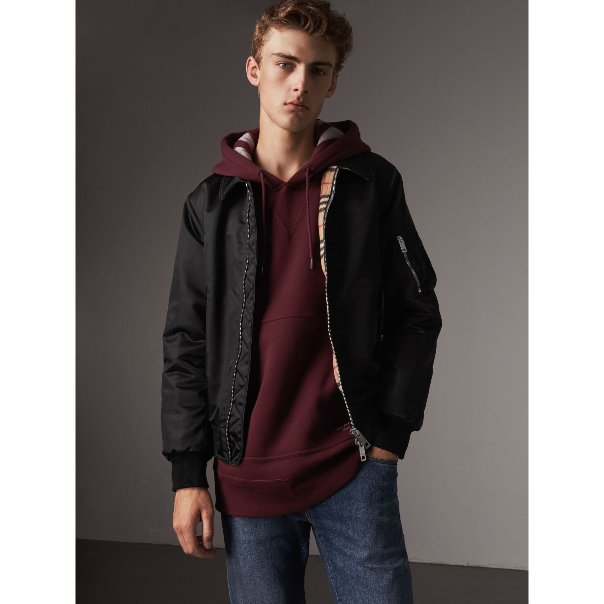 Point Collar Bomber Jacket in Black - Men | Burberry - gallery image 1