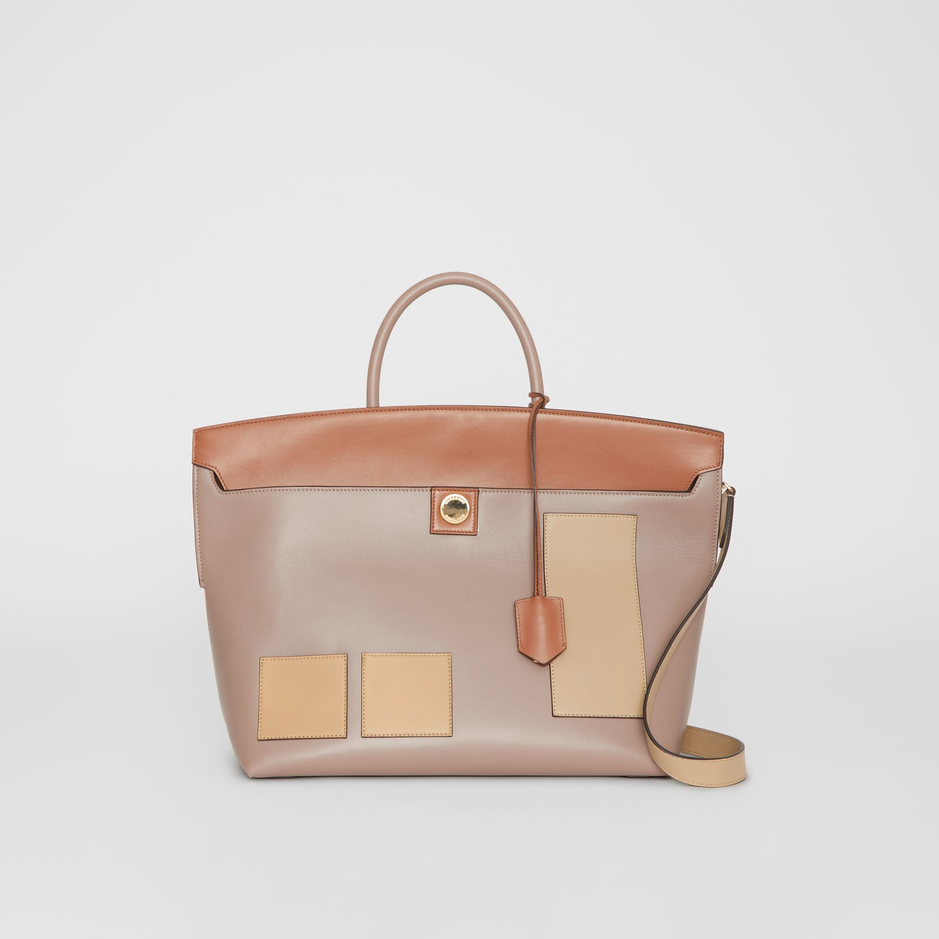 Leather Society Top Handle Bag in Pale Mink - Women | Burberry - gallery image 0