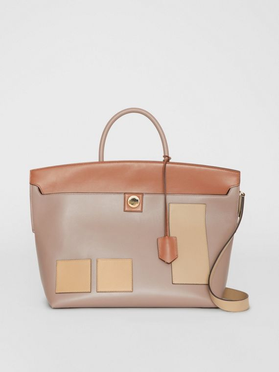 Leather Society Top Handle Bag in Pale Mink