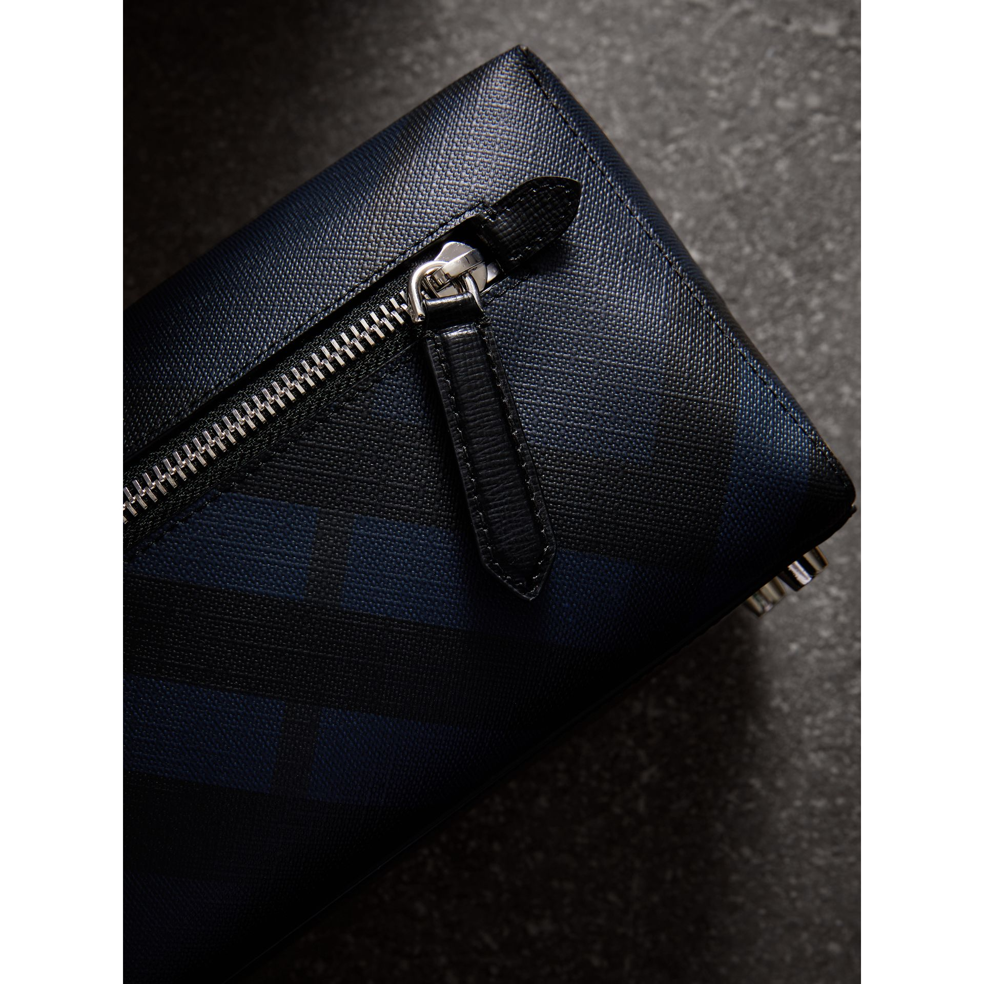 London Check and Leather Pouch in Navy/black | Burberry Canada - gallery image 1