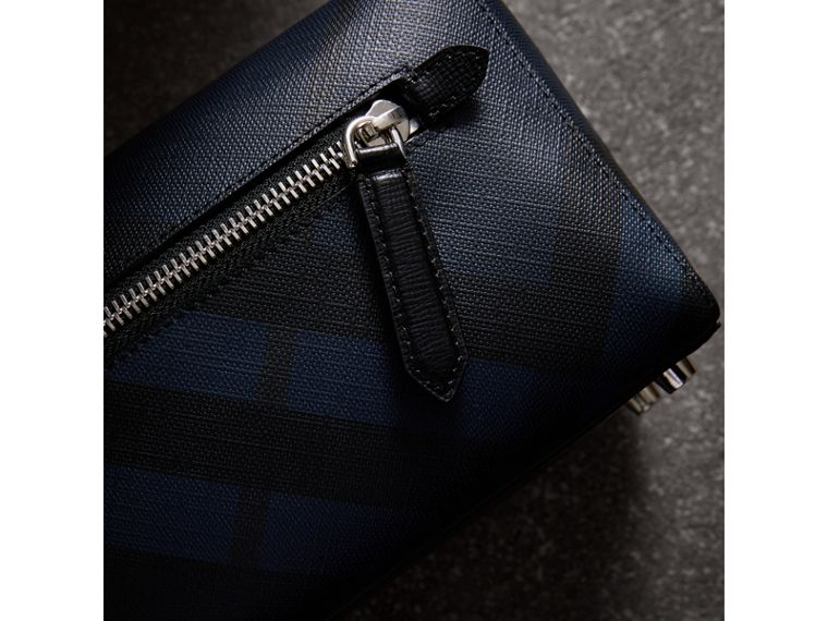 London Check and Leather Pouch in Navy/black | Burberry - cell image 1