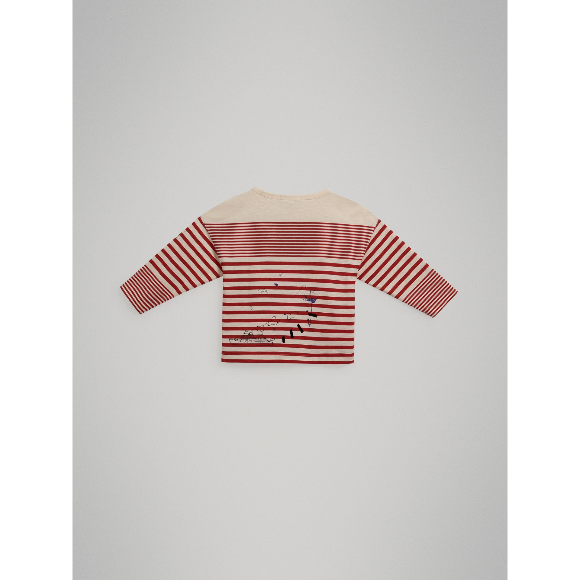 SW1 Print Striped Cotton Top in Bright Red/natural White - Boy | Burberry United Kingdom - gallery image 3