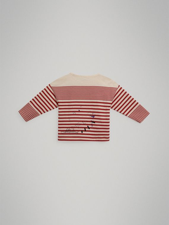 SW1 Print Striped Cotton Top in Bright Red/natural White - Boy | Burberry - cell image 3