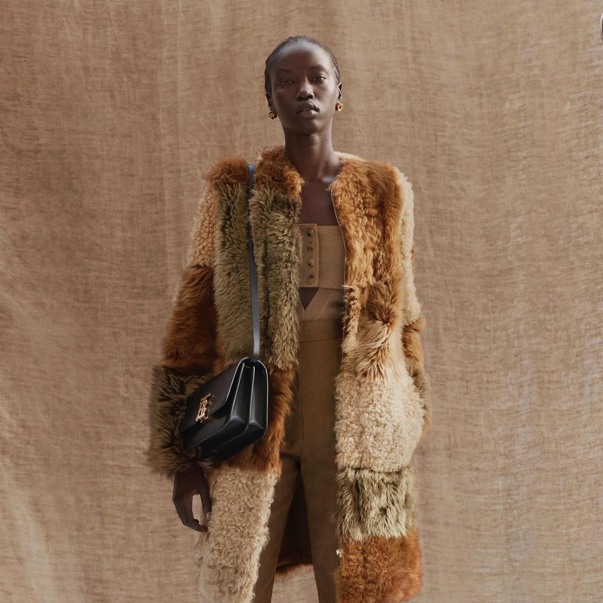 Patchwork Shearling Coat in Toffee - Women | Burberry - gallery image 1