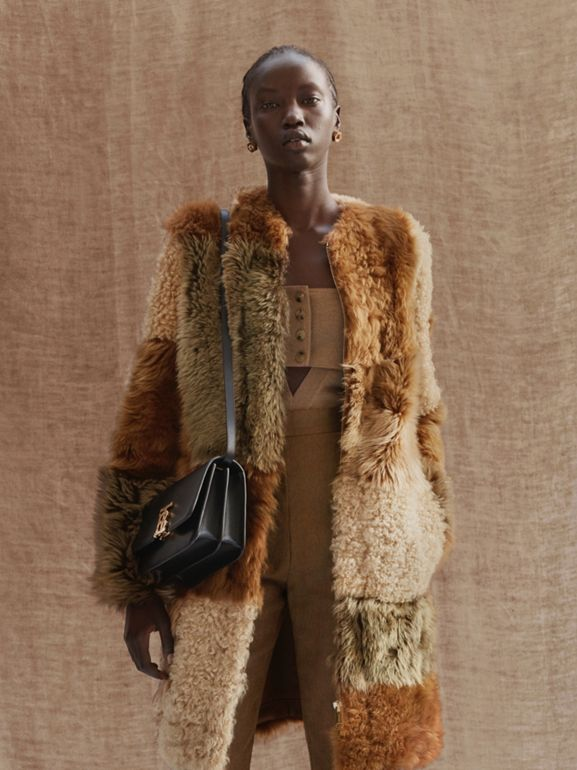 Patchwork Shearling Coat in Toffee - Women | Burberry Australia - cell image 1