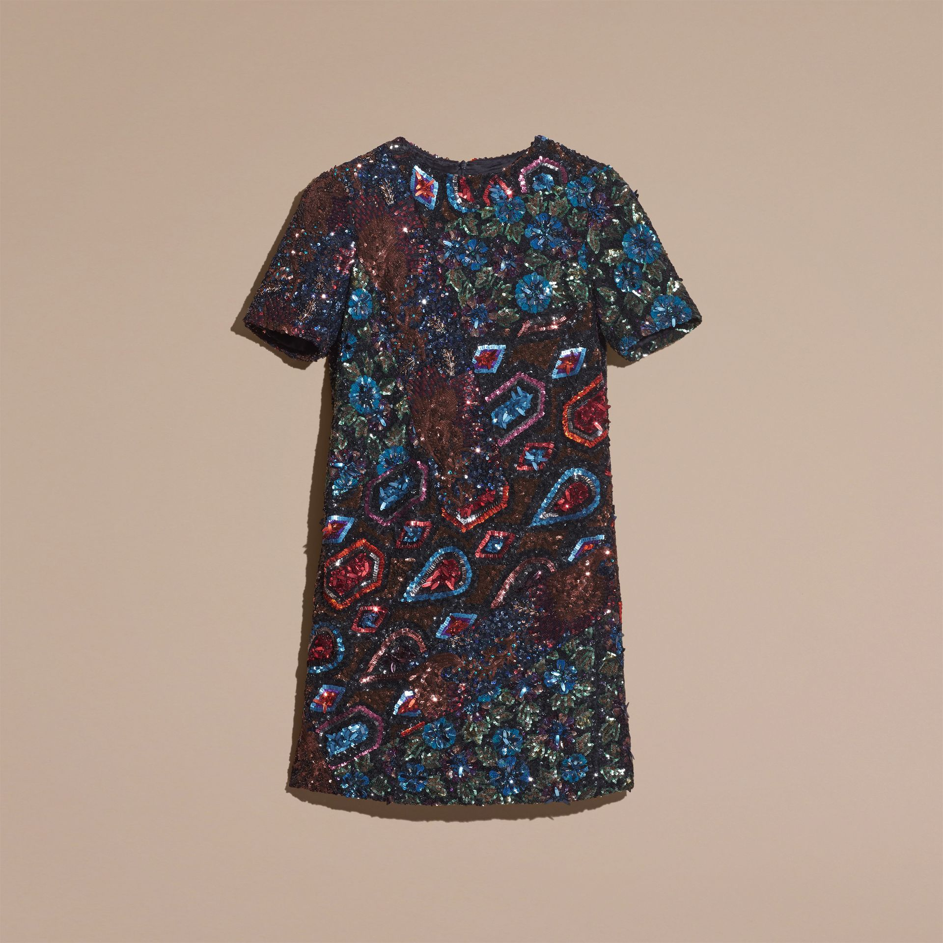 Navy Hand-embroidered Sequin and Bead T-shirt Dress - gallery image 4