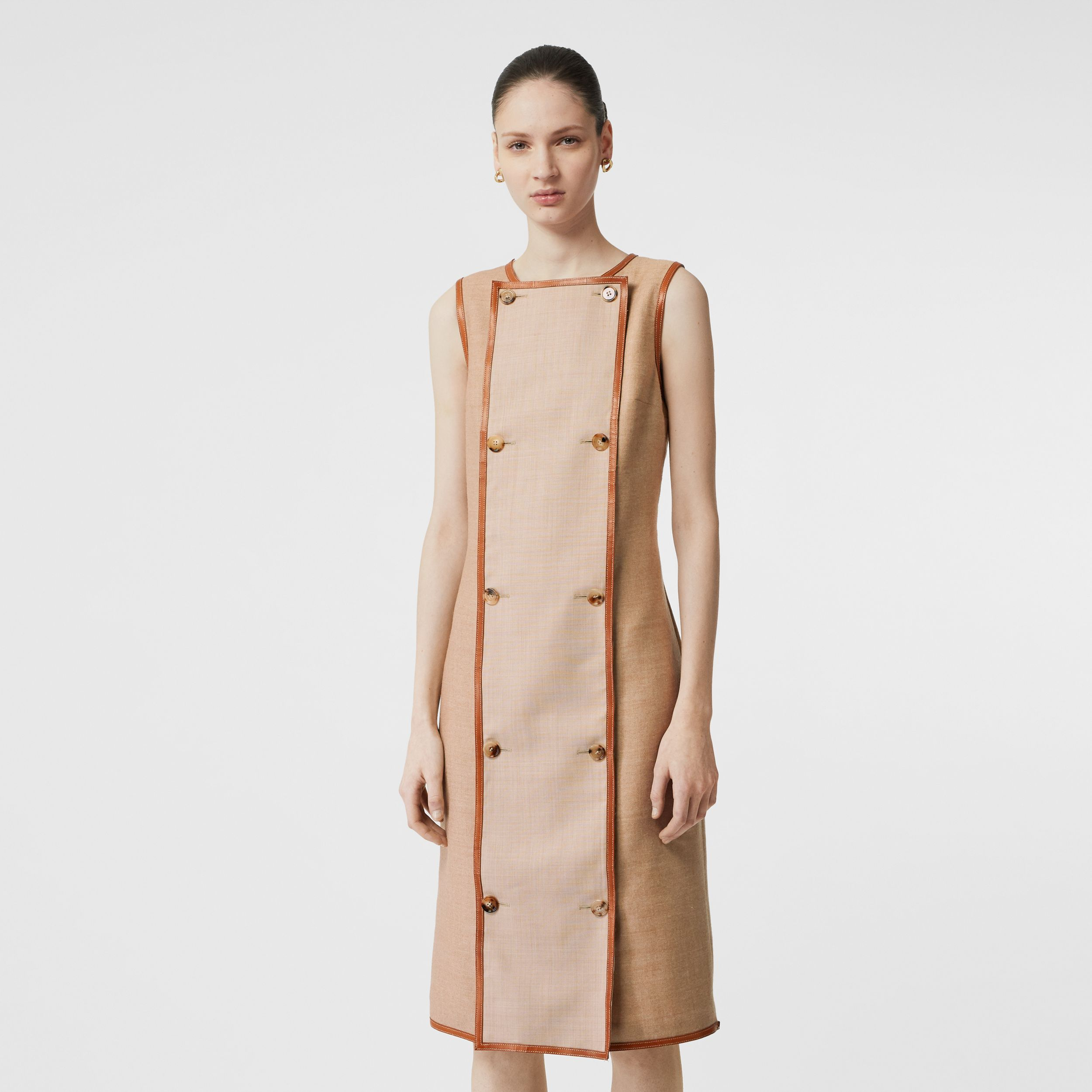 Button Panel Detail Wool Blend Shift Dress in Biscuit - Women | Burberry Canada - 1