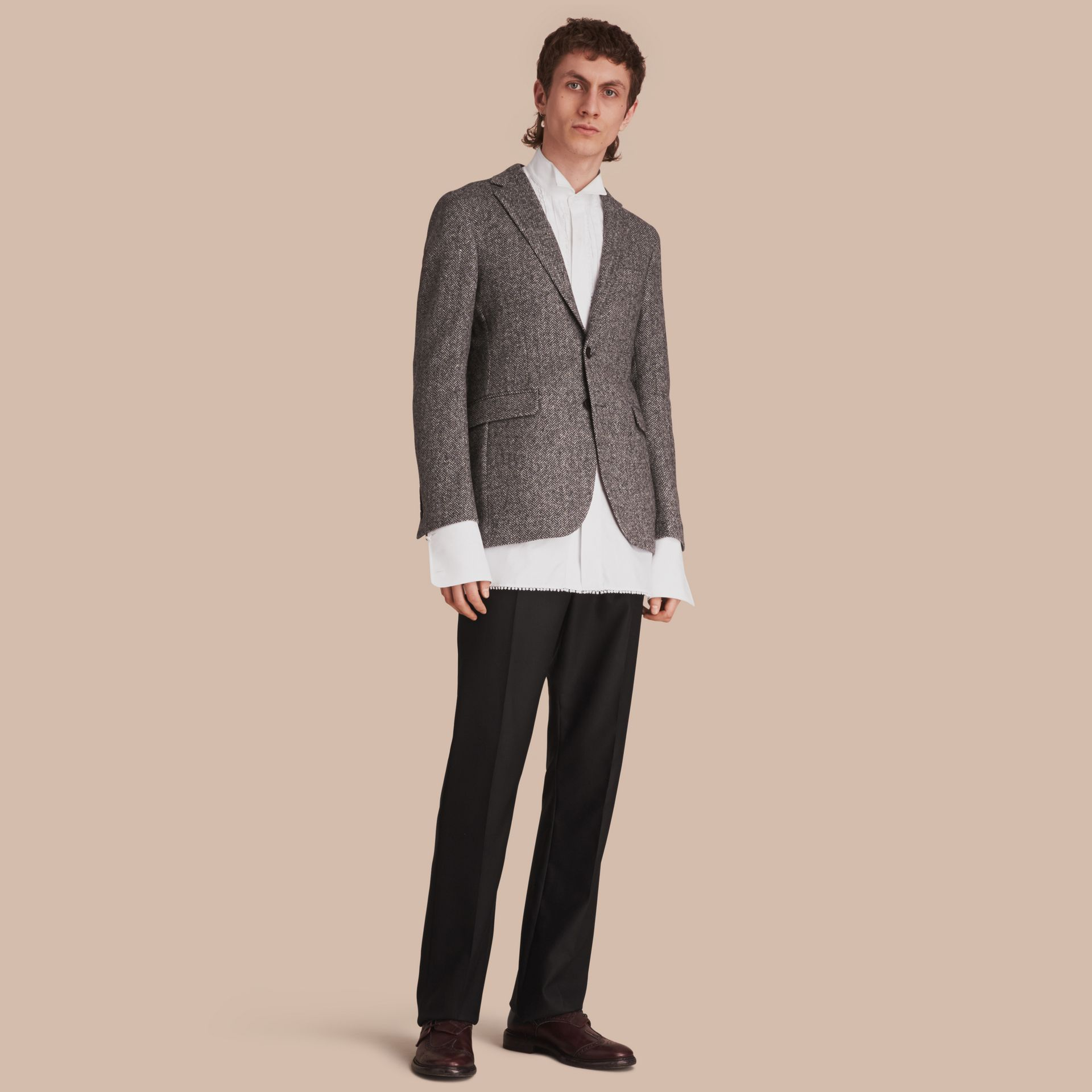 Slim Fit Herringbone Wool Tailored Jacket - gallery image 1