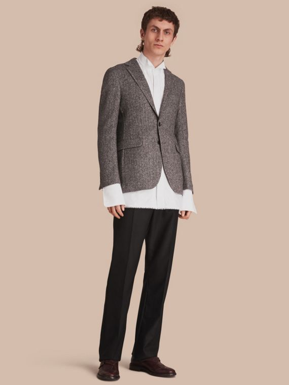 Slim Fit Herringbone Wool Tailored Jacket
