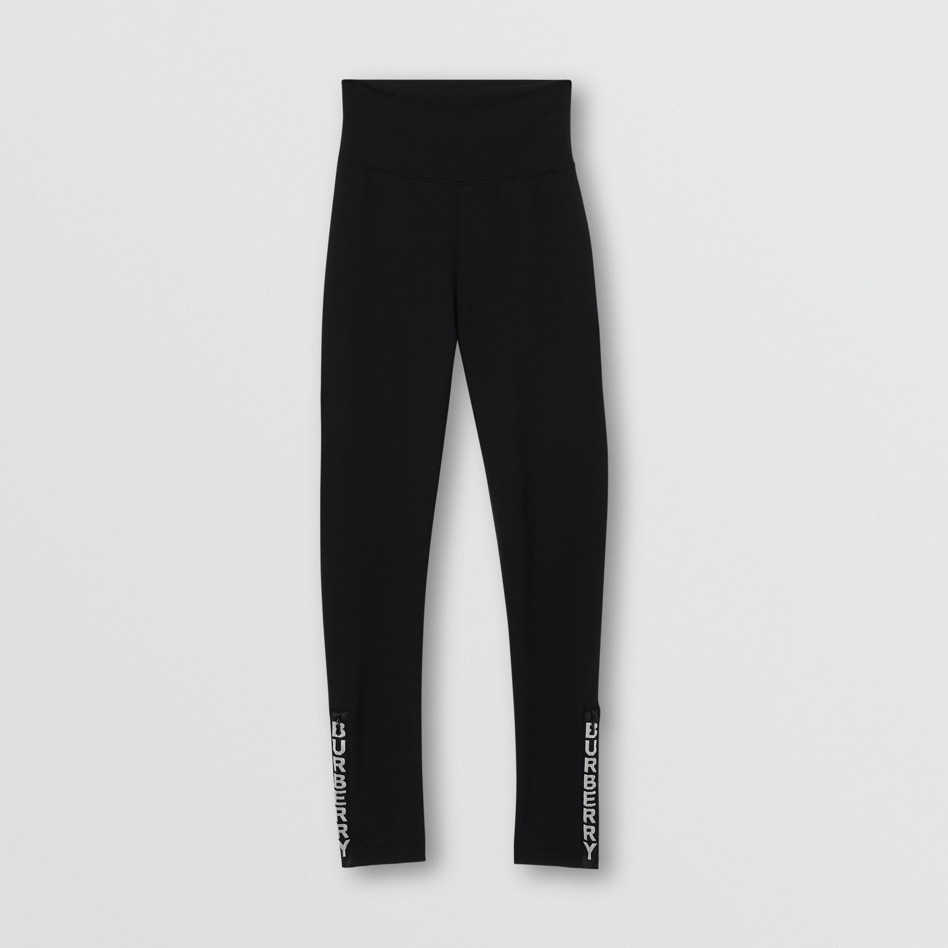 Logo Detail Stretch Jersey Leggings in Black - Women | Burberry United States - gallery image 3