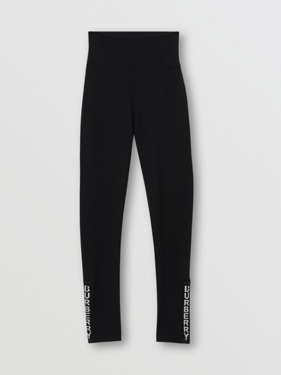 Logo Detail Stretch Jersey Leggings in Black