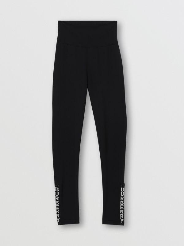 Logo Detail Stretch Jersey Leggings in Black - Women | Burberry - cell image 3