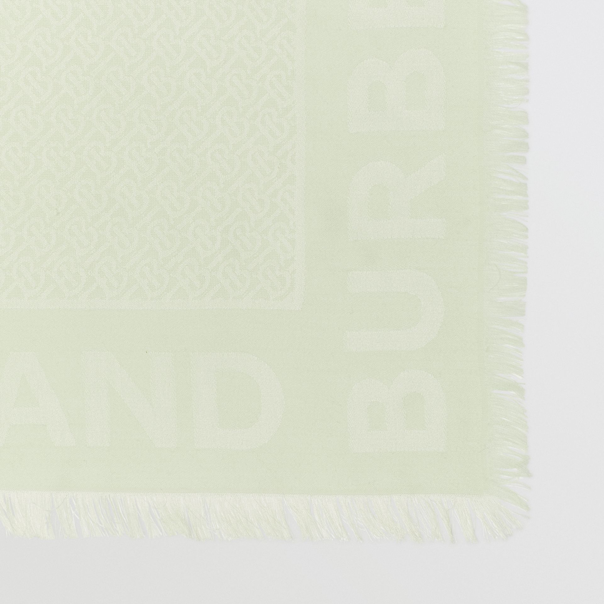 Monogram Silk Wool Jacquard Large Square Scarf in Pistachio | Burberry - gallery image 1