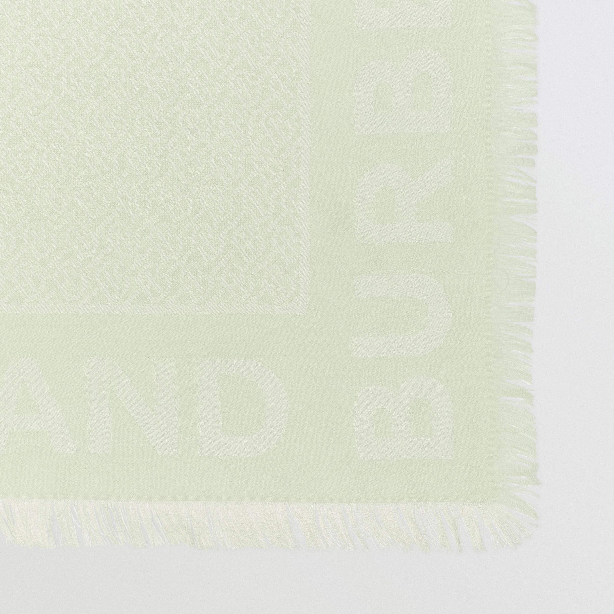 Monogram Silk Wool Jacquard Large Square Scarf in Pistachio | Burberry - 2