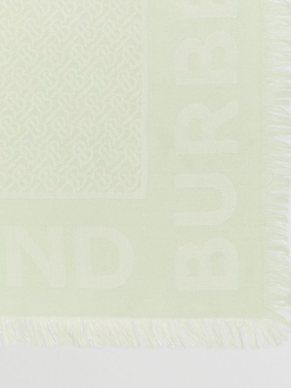 Monogram Silk Wool Jacquard Large Square Scarf in Pistachio | Burberry - cell image 1