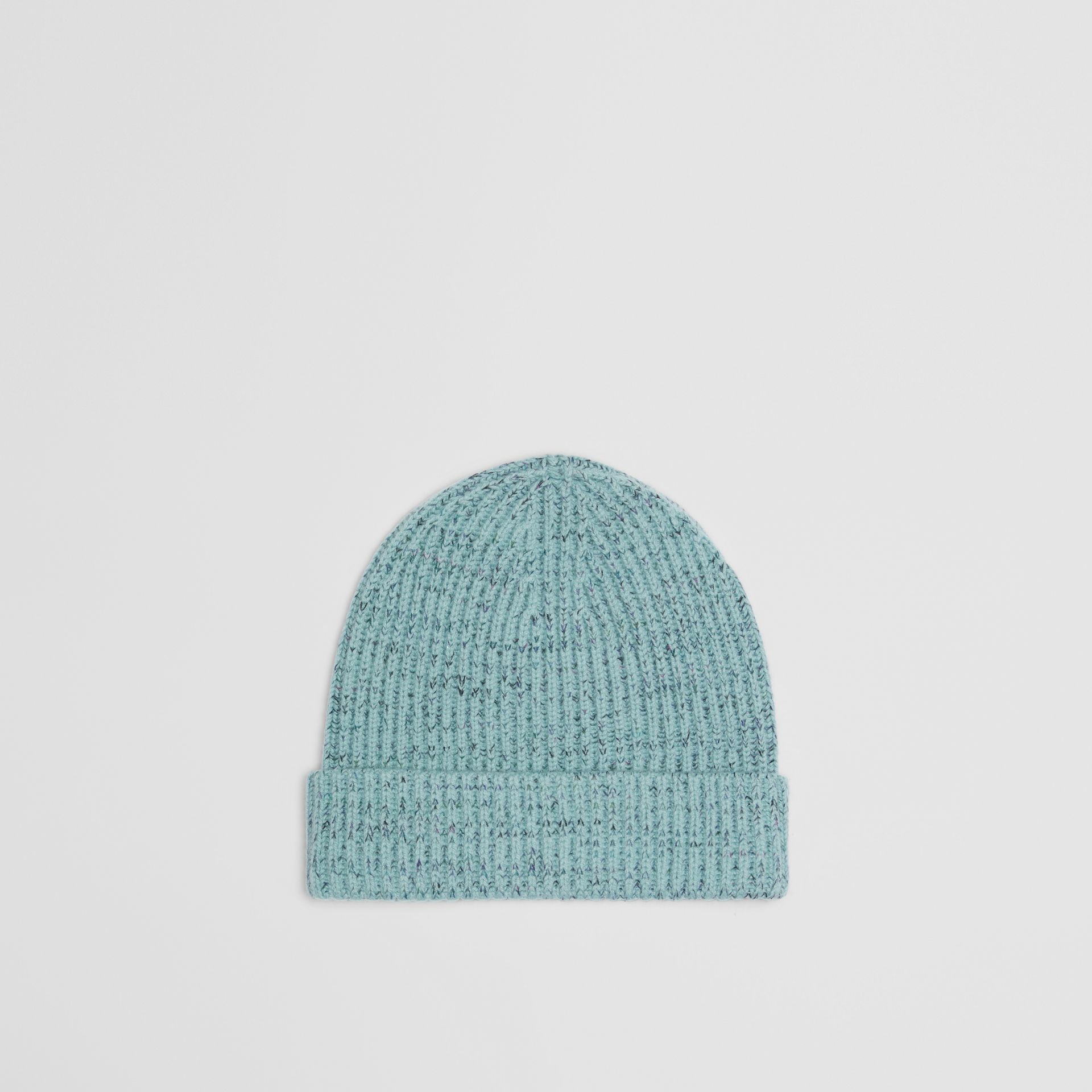Embroidered Archive Logo Wool Blend Beanie in Blue Topaz | Burberry - gallery image 3