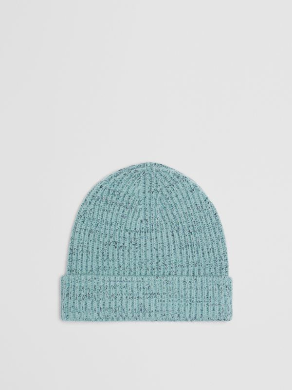 Embroidered Archive Logo Wool Blend Beanie in Blue Topaz | Burberry - cell image 3