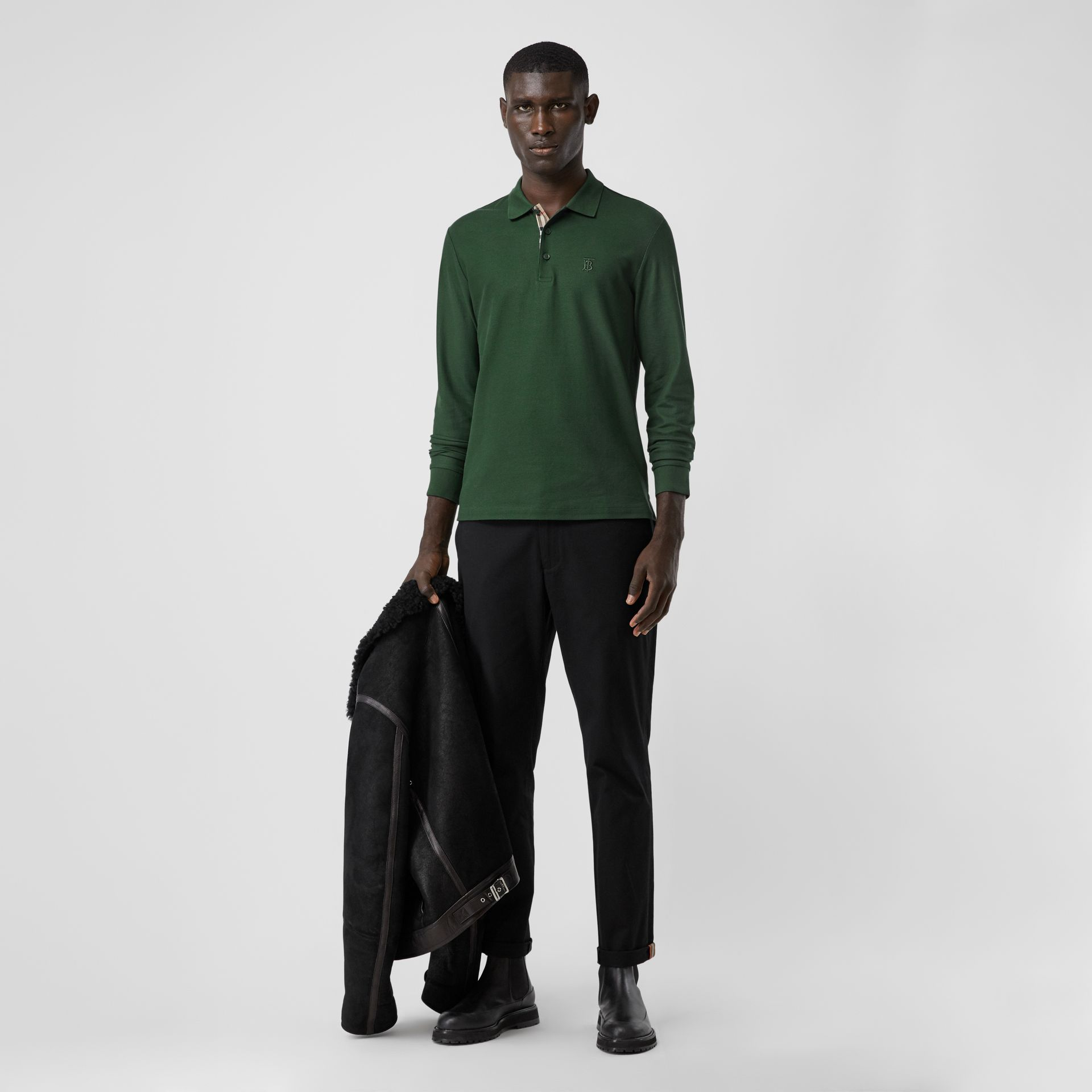 Long-sleeve Monogram Motif Cotton Piqué Polo Shirt in Dark Pine Green - Men | Burberry - gallery image 0