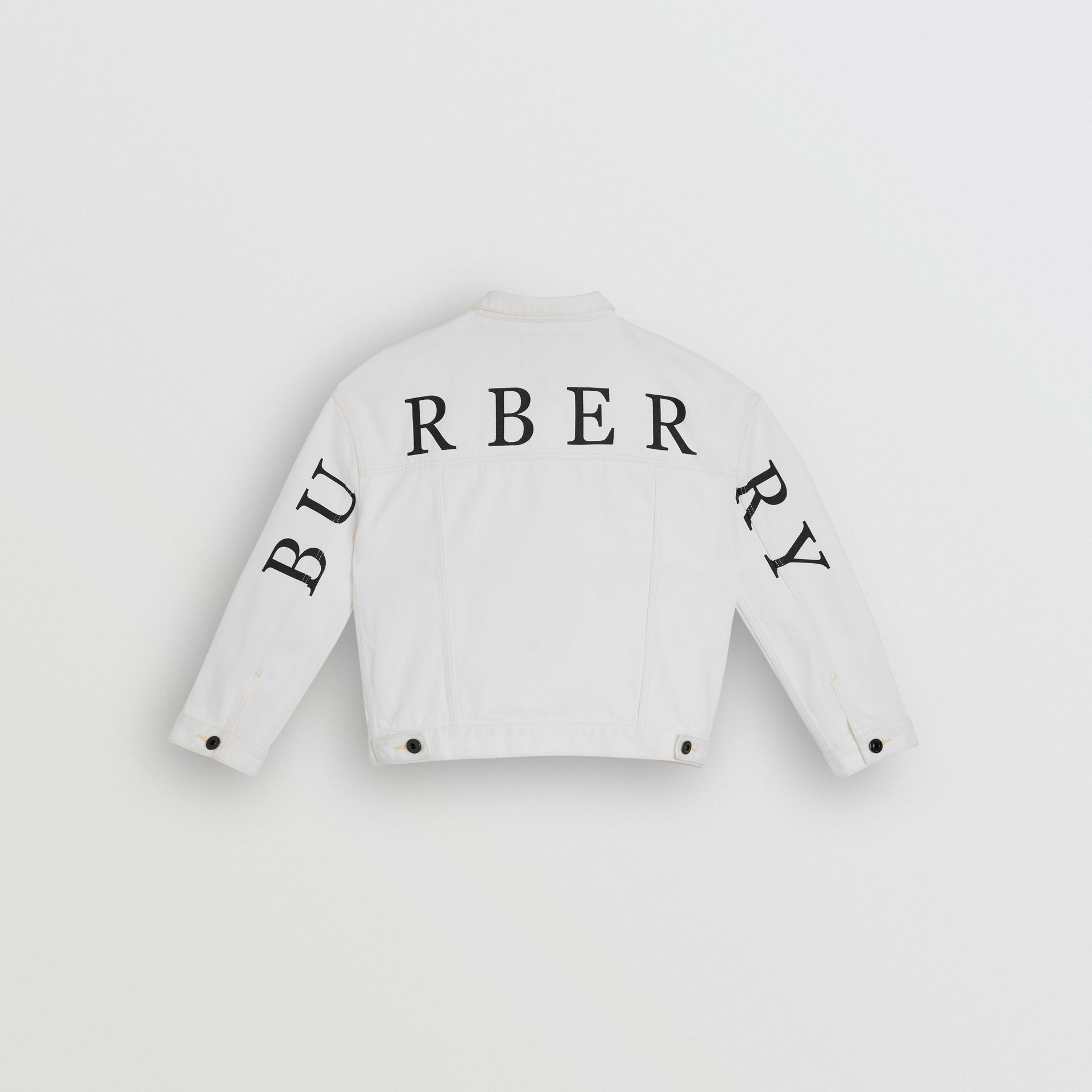 Logo Print Denim Jacket in Natural White - Children | Burberry - gallery image 3