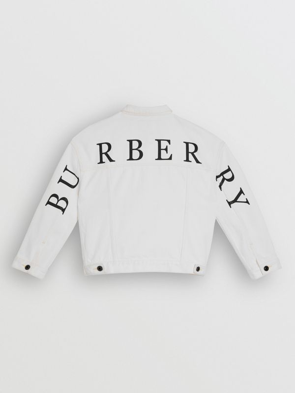 Logo Print Denim Jacket in Natural White - Children | Burberry - cell image 3