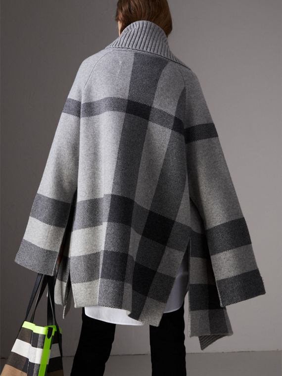 Check Wool Cashmere Blend Cardigan Coat in Pale Grey Melange - Women | Burberry Australia - cell image 2