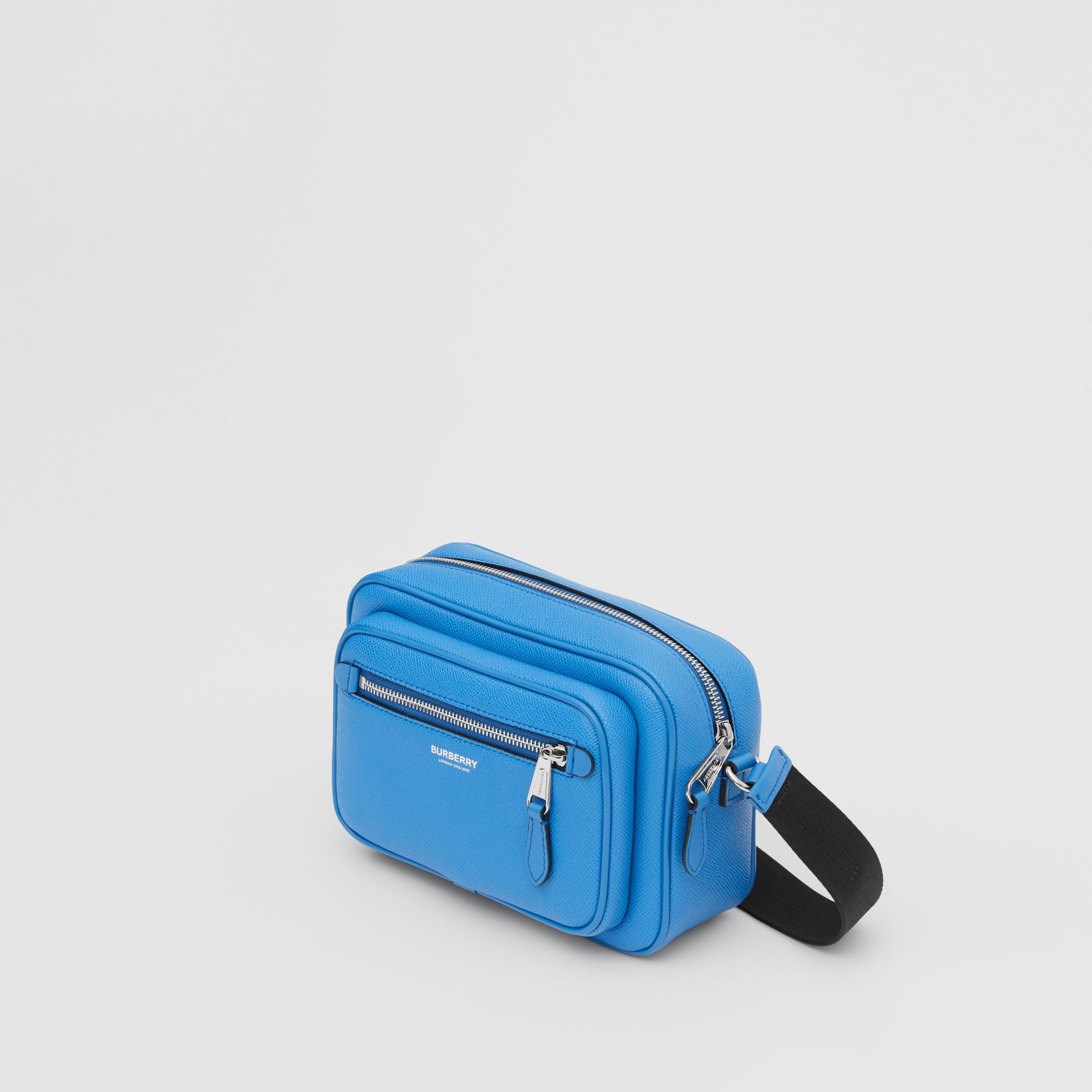 Grainy Leather Crossbody Bag in True Blue - Men | Burberry Australia - 4
